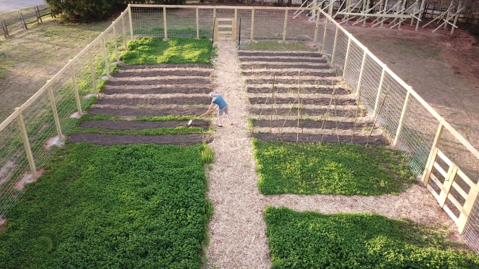 Arial View of Pathways in early spring while cover crop was still growing.